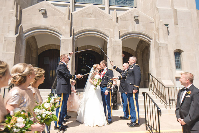 sabre arch wedding photo