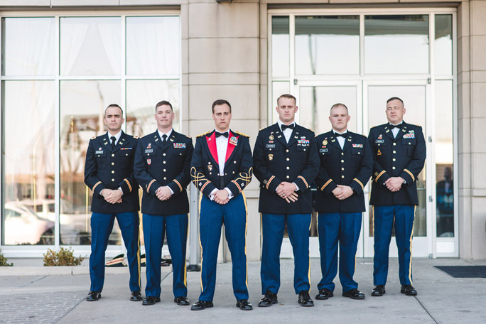 army formal wedding photos