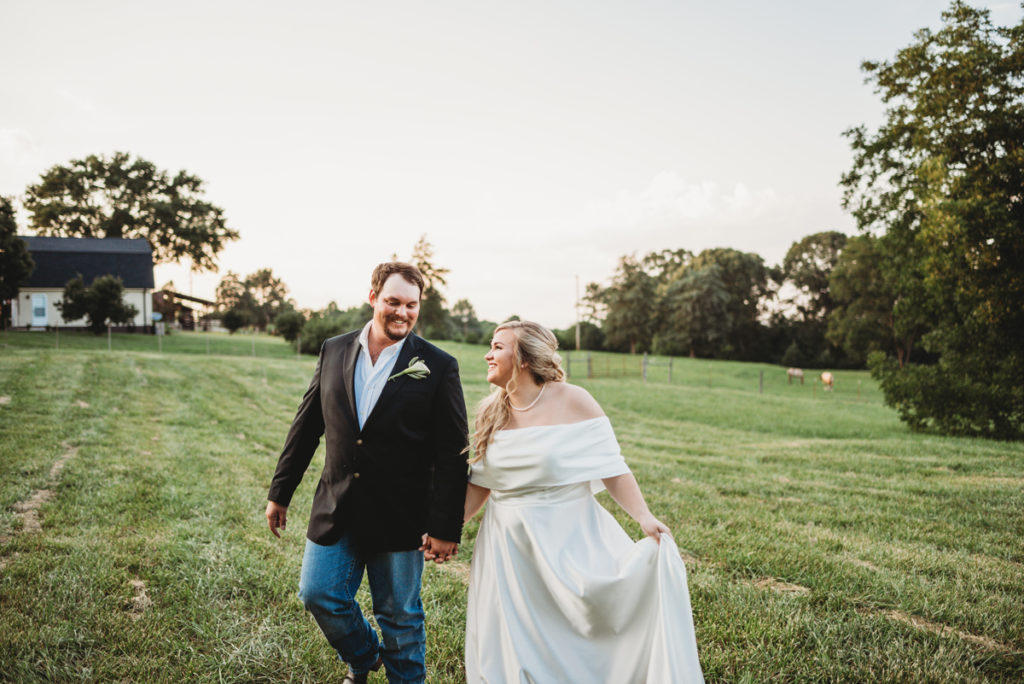 farm wedding at sunset