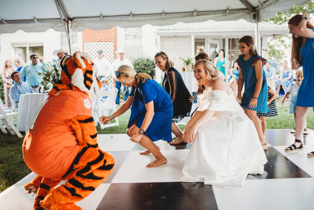 clemson tiger on dance floor
