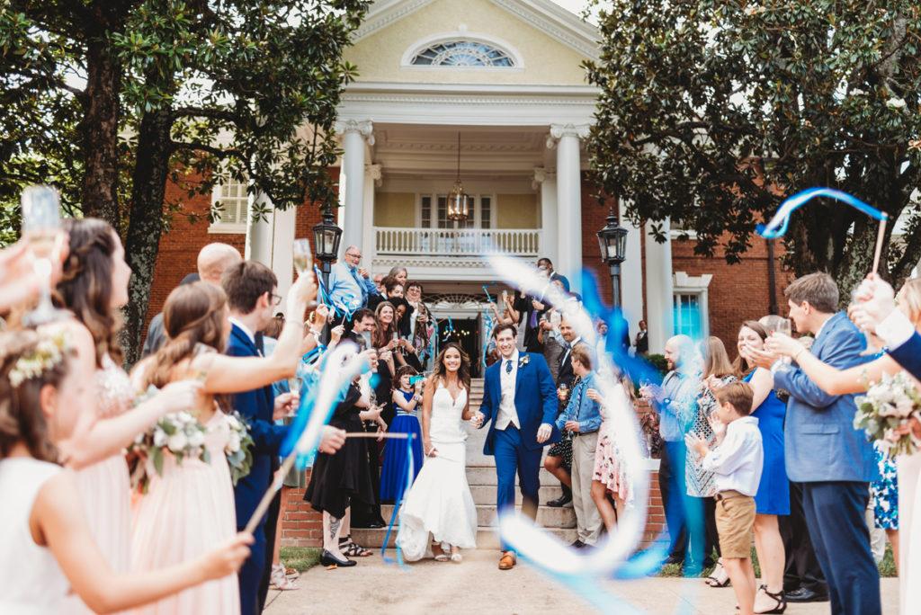 streamer exit at wedding
