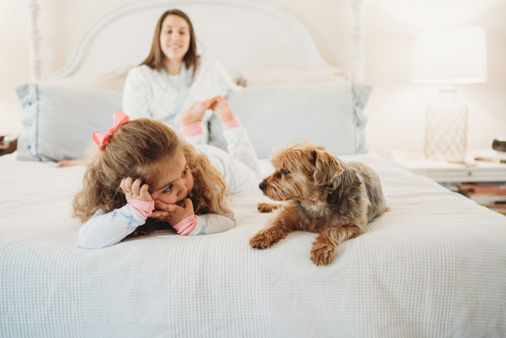 little girl and yorkie