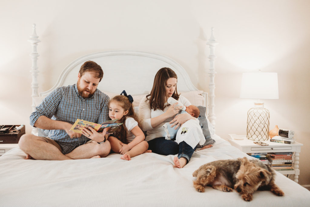 real life family session with yorkie