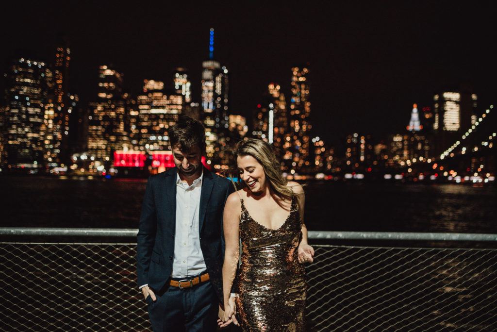 brooklyn NY couples session engagement photos at night